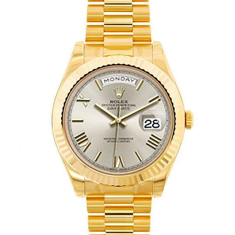 Rolex Men 18k Yellow Gold Day Date President Ii White Roman