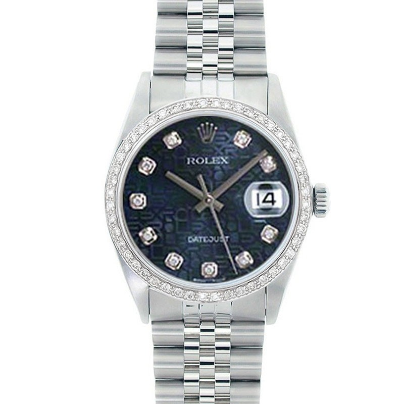 3565496cca0 Rolex Mens Stainless Steel Datejust Blue Diamond Dial engine-turned Bezel  Jubilee Band