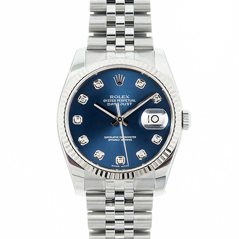 5bb42b720be5 Rolex Mens Stainless Steel Datejust Blue Diamond Dial fluted Bezel Jubilee  Band