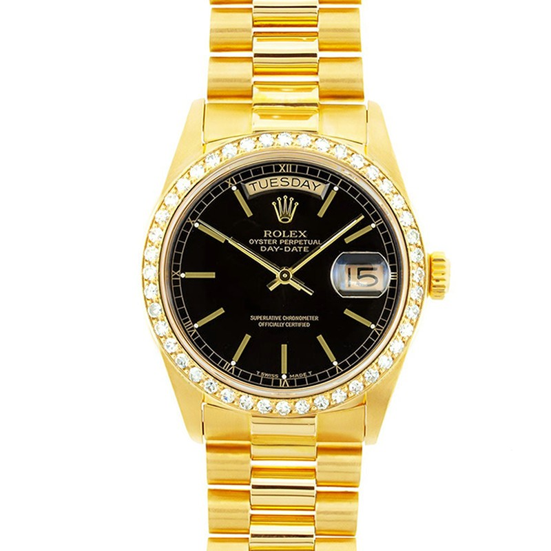 Buy Used Rolex Day,Date Black Model 18038 Diamond Bezel