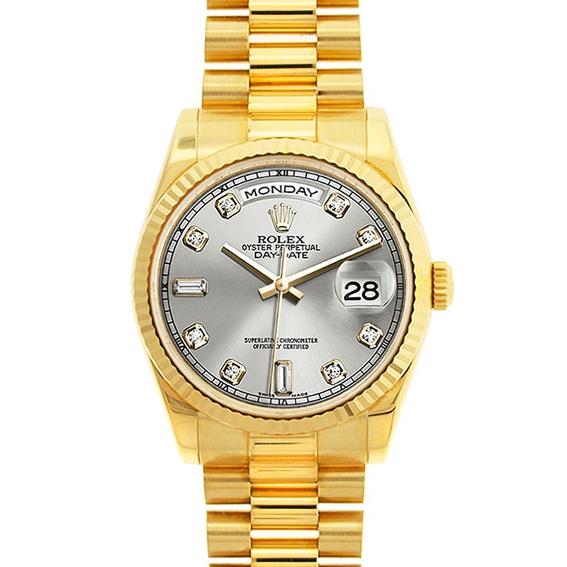 3d5e9a6e23f 18K Yellow Gold Oyster Perpetual Rolex Day Date President Champagne Diamond  Dial Fluted Bezel. 118238