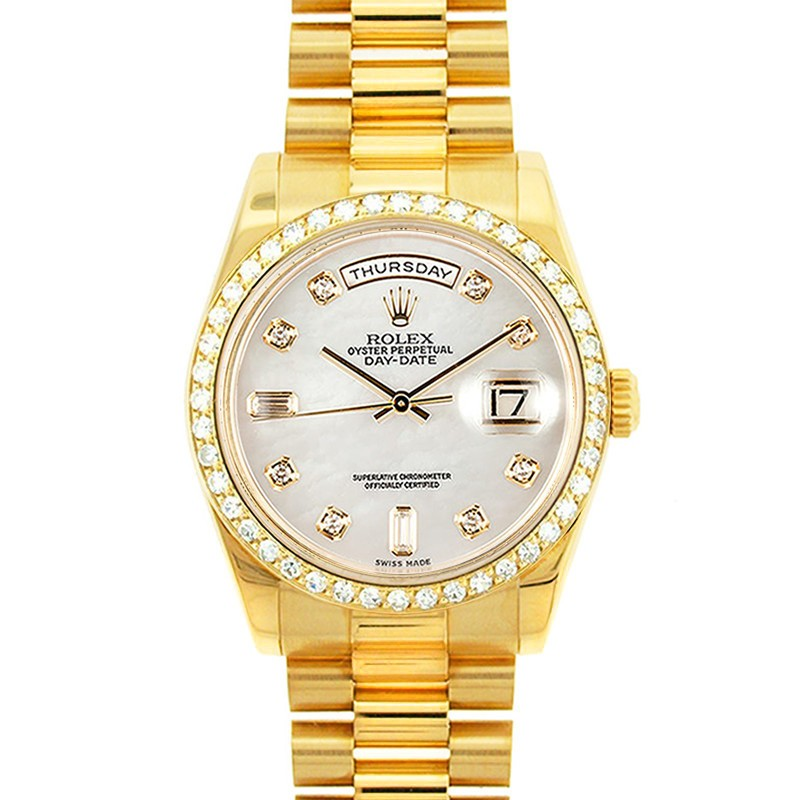 3a400f9b645 18K Yellow Gold Oyster Perpetual Rolex Day Date President with Champagne  Diamond Dial Diamond Bezel Model 18038