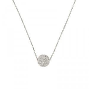 18K White Gold Diamond Ball Pendant