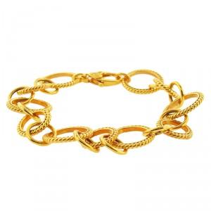 14K Yellow Gold Circle Link Charms Bracelet
