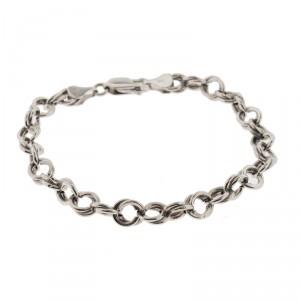14K White Gold Rolo Charm Bracelet