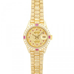 Rolex 18K Yellow Gold Lady President Fully Loaded with Rubies